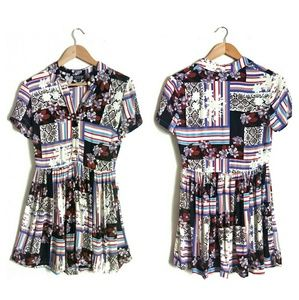 Topshop Mixed Print Shirtdress
